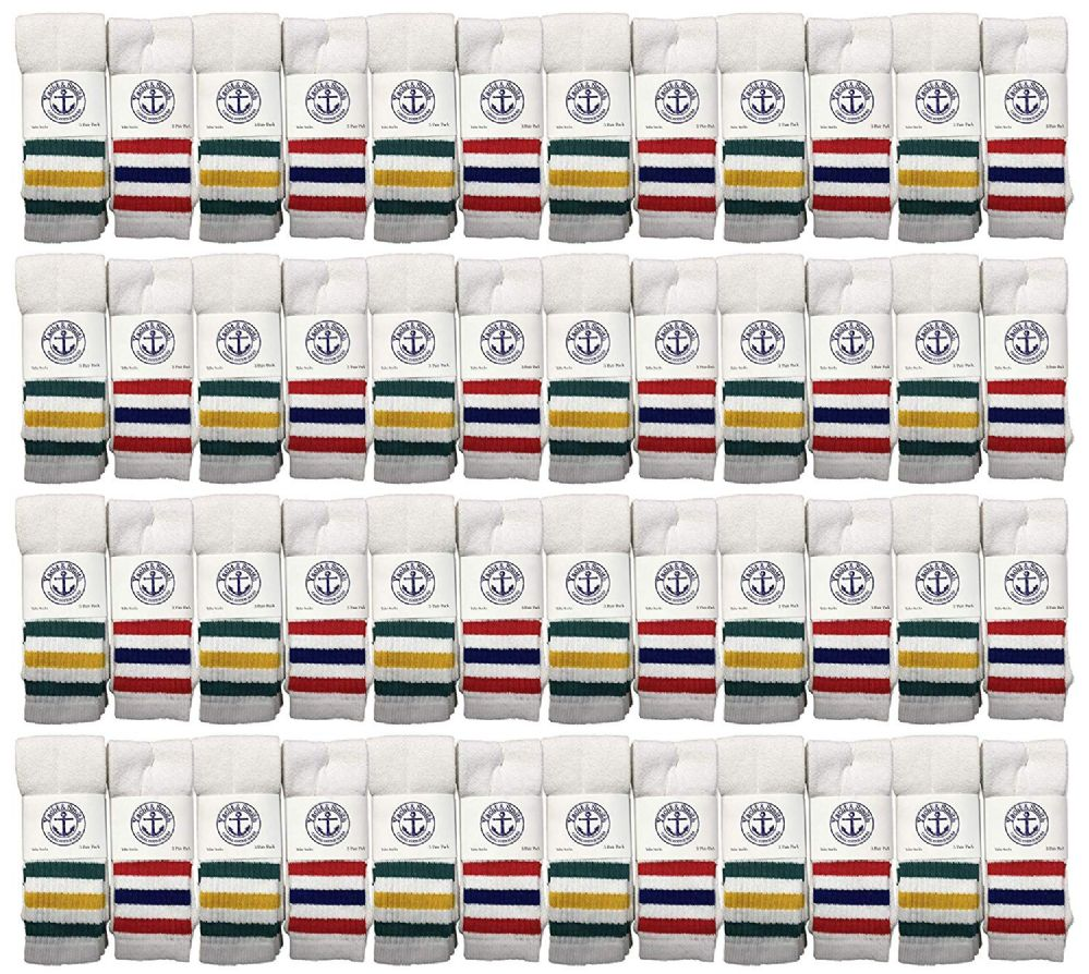 48 of Yacht & Smith Women's Cotton Striped Tube Socks, Referee Style Size 9-15 22 Inch