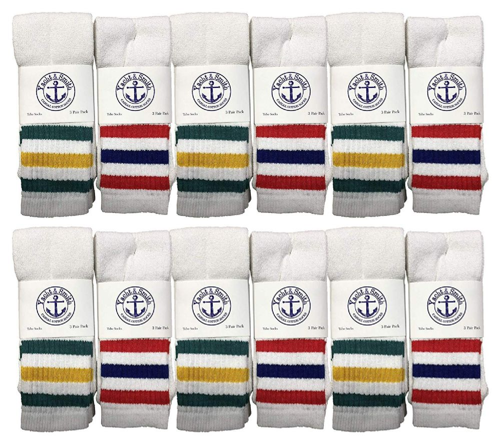 12 of Yacht & Smith Women's Cotton Striped Tube Socks, Referee Style Size 9-15 22 Inch