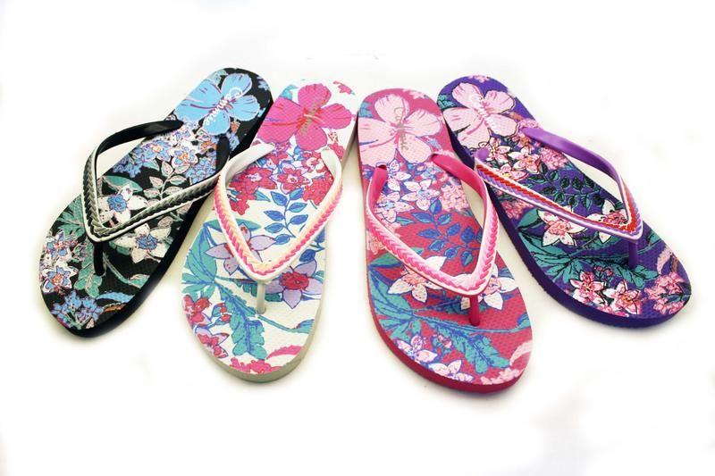 Wholesale Footwear Womens Flowery Flip Flops With Decorative Straps