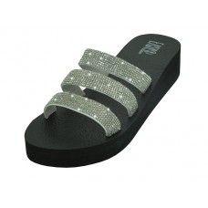 Wholesale Footwear Women's Rhinestone Upper Wedge Sandals Silver Color