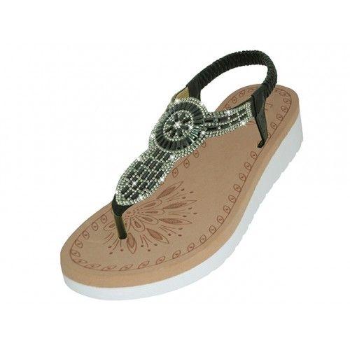 Wholesale Footwear Women's Super Soft Rhinestone Upper Sandals Black Color