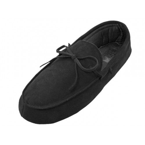 Wholesale Footwear Men's Leather Upper Moccasin Insulated House Slippers