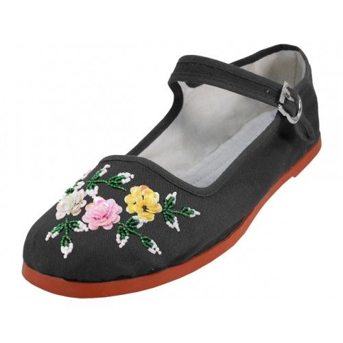 Wholesale Footwear Women's Cotton Upper With Hand Sequins Classic Mary Jane Shoes In Black