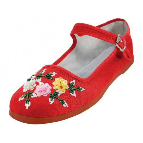 Wholesale Footwear Women's Cotton Upper With Hand Sequins Classic Mary Jane Shoes In Red Color