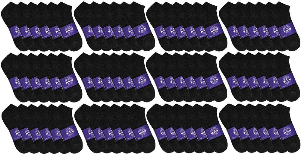 72 Bulk Yacht & Smith Mens Cotton Black No Show Ankle Socks, Sock Size 10-13