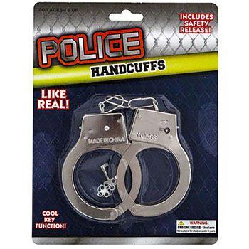 24 Wholesale Handcuff Metal Diecast W/keys Blistercard