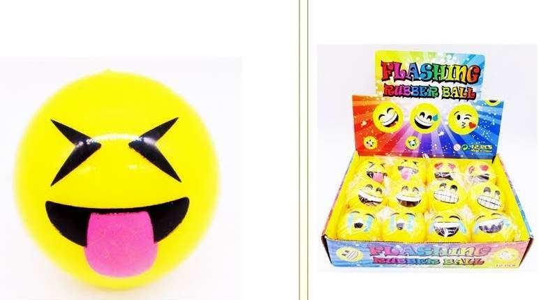 72 Wholesale EMOJI Ball With Light UP