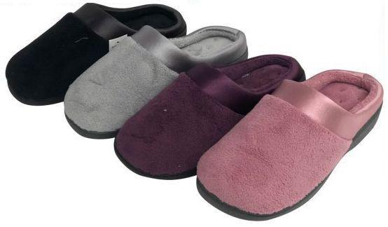 Wholesale Footwear Women's Plush Clog Slippers w/ Satin Trim