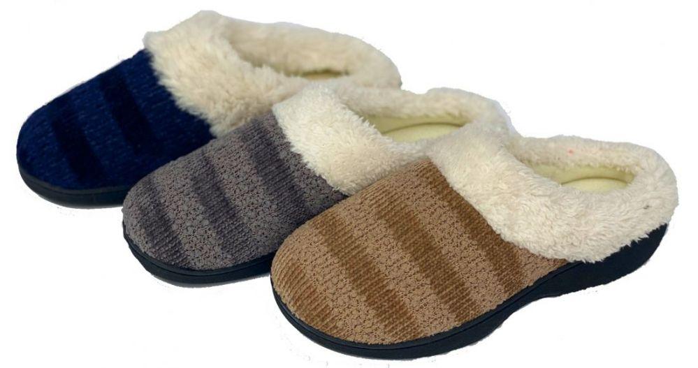 Wholesale Footwear Women's Two Tone Knit Clog Slippers w/ Faux Fur Trim