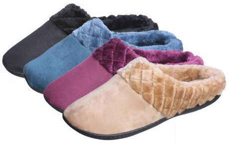Wholesale Footwear Women's Faux Suede Clog Slippers w/ Quilted Faux Fur Trim