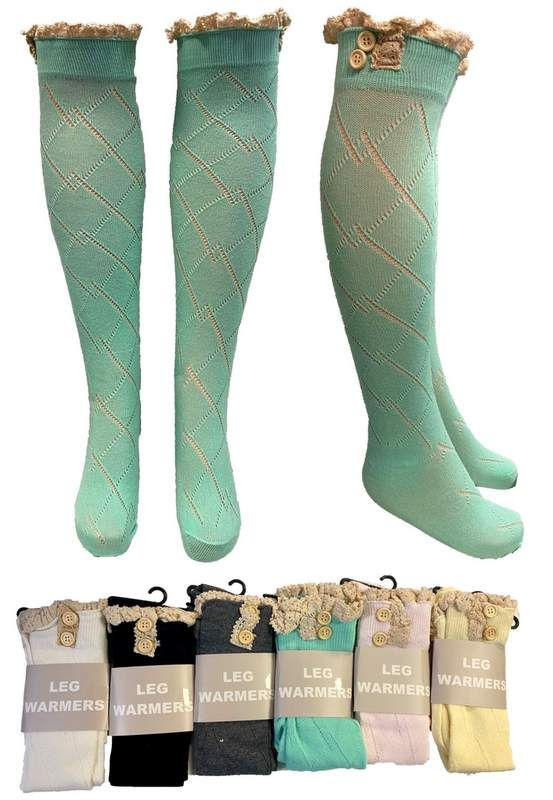 12 Bulk Wholesale Long Over the Knee Stocking with Lace Trim As