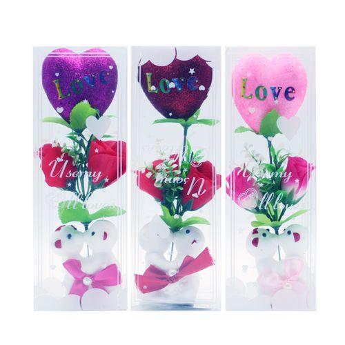 "36 Wholesale Vi Bear Styrofoam Couple 10"" W/heart & Rose 3 Asst"
