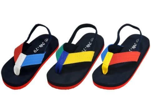 48 Wholesale Kids Flip Flops With Ankle Strap Assorted Colors