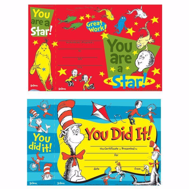 144 Wholesale Dr. Seuss Reward Certificate With Bonus Bookmark