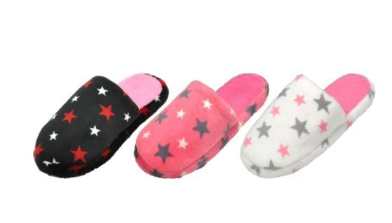 48 Wholesale Children's Assorted Color Star Plush Slippers