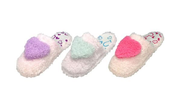 48 Wholesale Children's Assorted Color Heart Plush Slippers