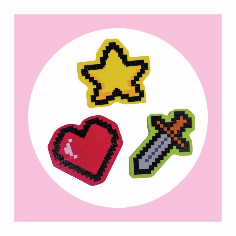 10 Bulk 6ct. Retro Pixel Game Erasers