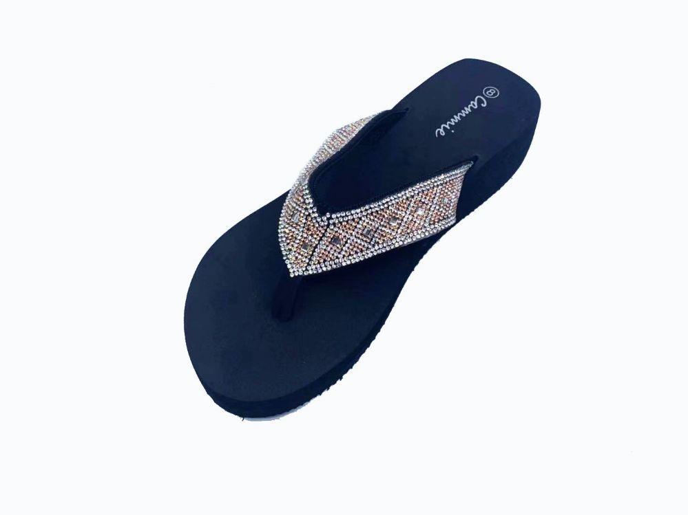 Wholesale Footwear Women Flip Flops With Glittering Straps In Silver