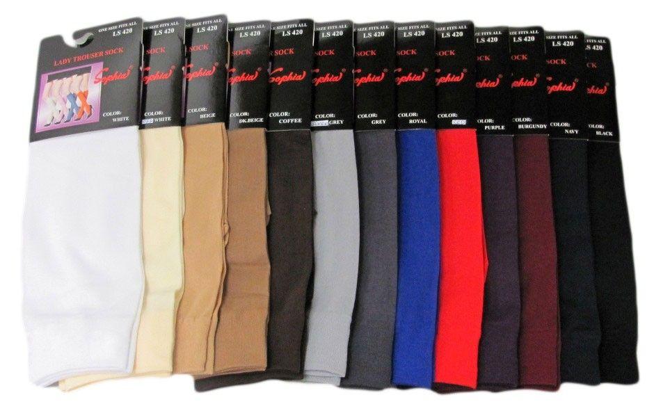 120 Bulk Womens Trouser Socks Size 9-11 Nylon Stretch Knee Socks, Coffee