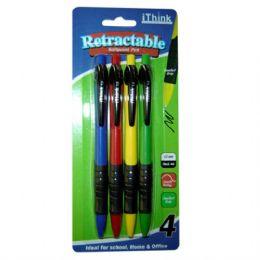 72 Wholesale Retractable Ball Point Pen 4pk