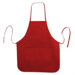 72 Units of Long Round Bottom Cotton Twill Apron Red - Kitchen Gear