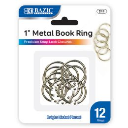 """144 Units of Bazic 1"""" Metal Book Rings (12/pack) - Clipboards and Binders"""