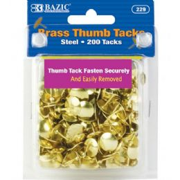 144 Bulk Bazic Brass (gold) Thumb Tack (200/pack)