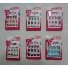 144 Units of Colored Artificial Nails With French Tips - Nail Polish