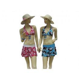 72 Units of 3pcs Swimsuit Set Bathing Suit - Womens Swimwear