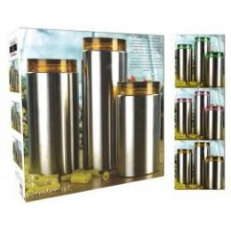 4 Units of 3 Pc Glass Canister Set - Glassware