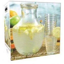 6 Units of 5-Pc. Glass Decanter W/tumbler Set - Glassware
