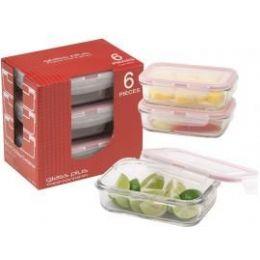 6 Units of 6-Pc.rectangular Glass 11oz. Container W/ Plastic Click & Lock Lids - Glassware