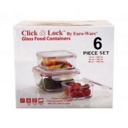 4 Units of 6-Pc Square Glass Plus Food Containers W/ Plastic Click & Lock Lids - Glassware