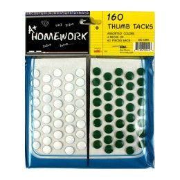 48 Bulk Thumb Tacks 160 Pk 80 White+40 Red+40 Green