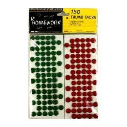 96 Bulk Thumb Tacks 150 Pk 75 Red+ 75 Green