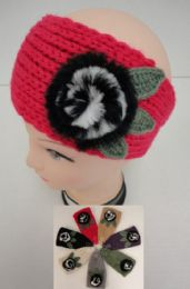 48 Units of Hand Knitted Ear BanD--Fur Flower - Ear Warmers
