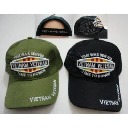 24 Units of Vietnam Veteran Hat With Shadow Time Was Served-Time To Honor - Military Caps