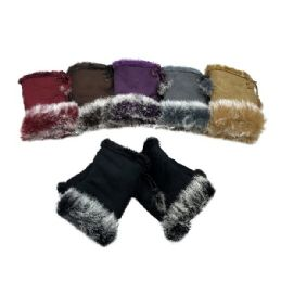 48 of Women's Suede With Fur Fingerless Gloves
