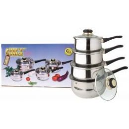 4 Units of 8 Pc Two Tone 18/10 Stainless Steel Sauce Pan Set W/ Stainless Steel Lids - Stainless Steel Cookware