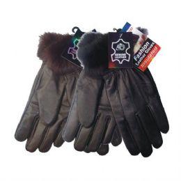 48 Bulk Winter Glove Genuine Leather Women W/ Fur Cuff