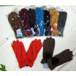 48 Units of Ladies Touch Screen Winter Glove With Pom Pom - Conductive Texting Gloves