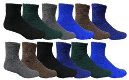24 Units of Yacht & Smith Men's Warm Cozy Fuzzy Socks, Solid Colors Size 10-13 - Mens Crew Socks