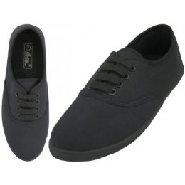 24 Units of Women's Lace Up Casual Canvas Shoes ( *all Black Color - Women's Sneakers