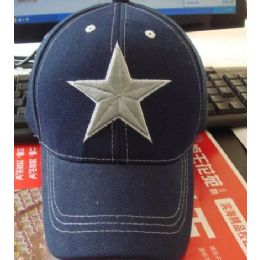 24 Units of Child's Cap With Large Star - Kids Baseball Caps