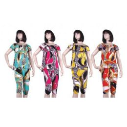 48 Units of Ladies Blouse And Capri Bottom Set - Womens Rompers & Outfit Sets