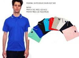 24 Units of Mens Solid Polo Shirt Jersey Fabric M-Xxl - Mens Polo Shirts