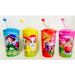 48 Units of 3d Drinking Cups With Straw 21 Ounce - Plastic Drinkware