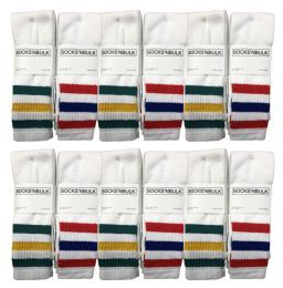 60 Units of Yacht & Smith Men's 30 Inch Referee Style Cotton Terry Tube Socks, Size 10-13 White With Stripes - Mens Tube Sock