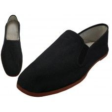 36 Units of Men's Slip On Twin Gore Cotton Upper With Rubber Out Sole Kung Fu/tai Chi Shoe ( Black Color Only) - Men's Shoes