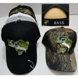 24 Units of Fish Hat Hook On Bill *Bass On Back - Hunting Caps